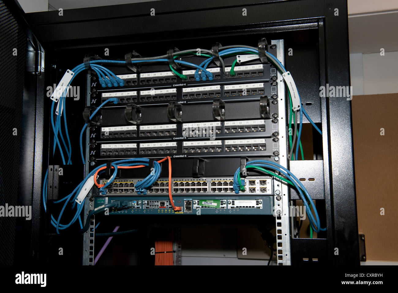 Cat5 5e Computer Patch Panel Rack Cables Stock Photo