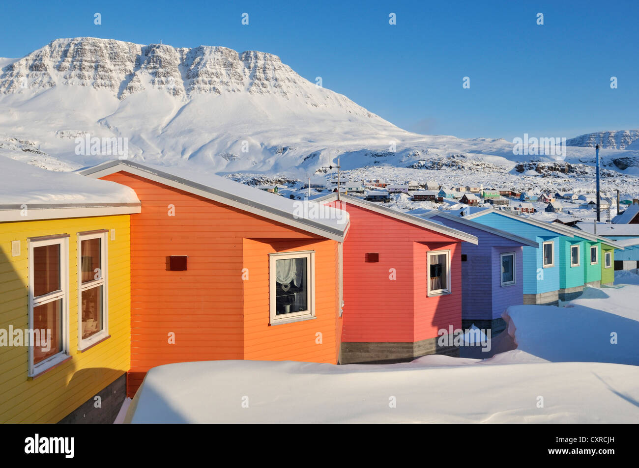Colorful row of houses qeqertarsuaq or disko island for Arctic house design