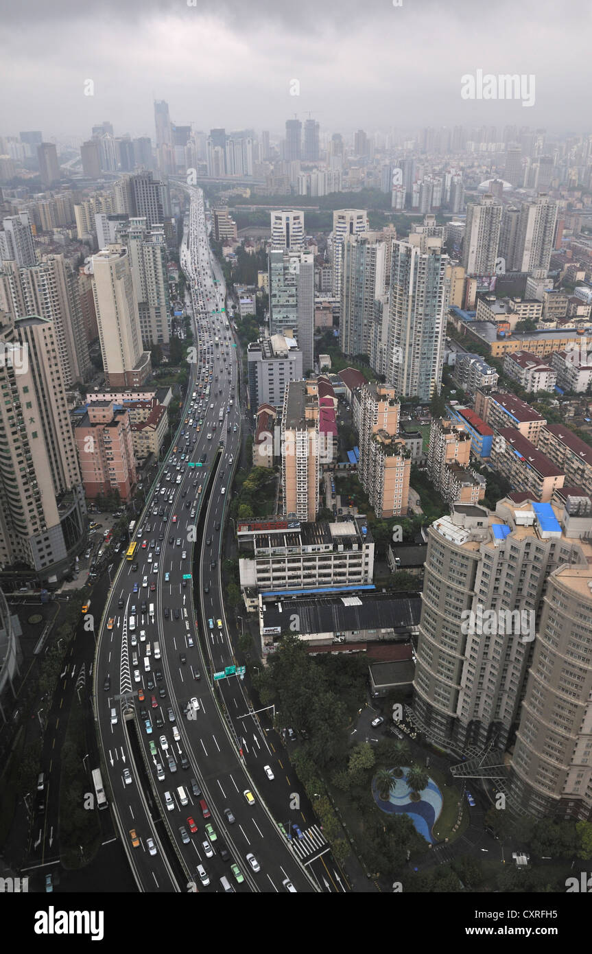 Stock photo view of downtown shanghai as seen from longemont hotel shanghai china asia