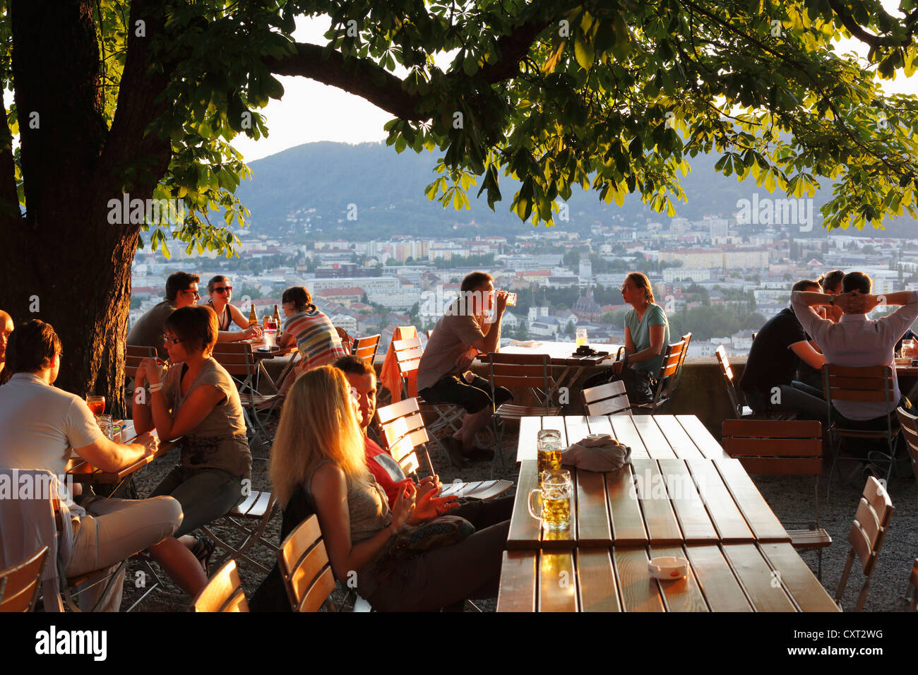schlossberg beer garden schlossberg castle hill graz styria stock photo royalty free image. Black Bedroom Furniture Sets. Home Design Ideas
