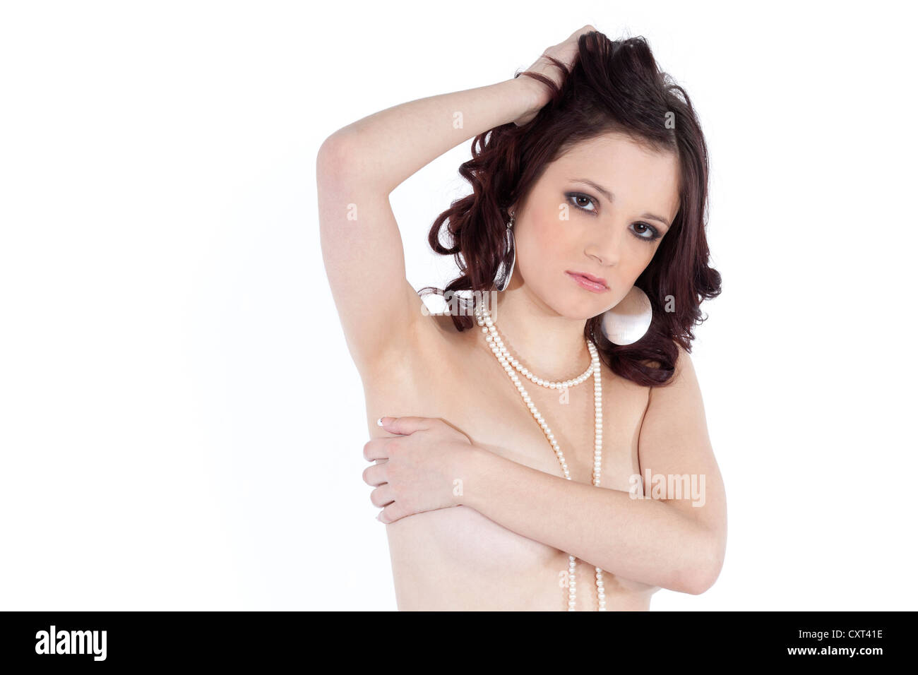 Stock Photo  Young Woman With A Bare Chest Wearing A Pearl Necklace,  Covered Partial Nude, Sensual