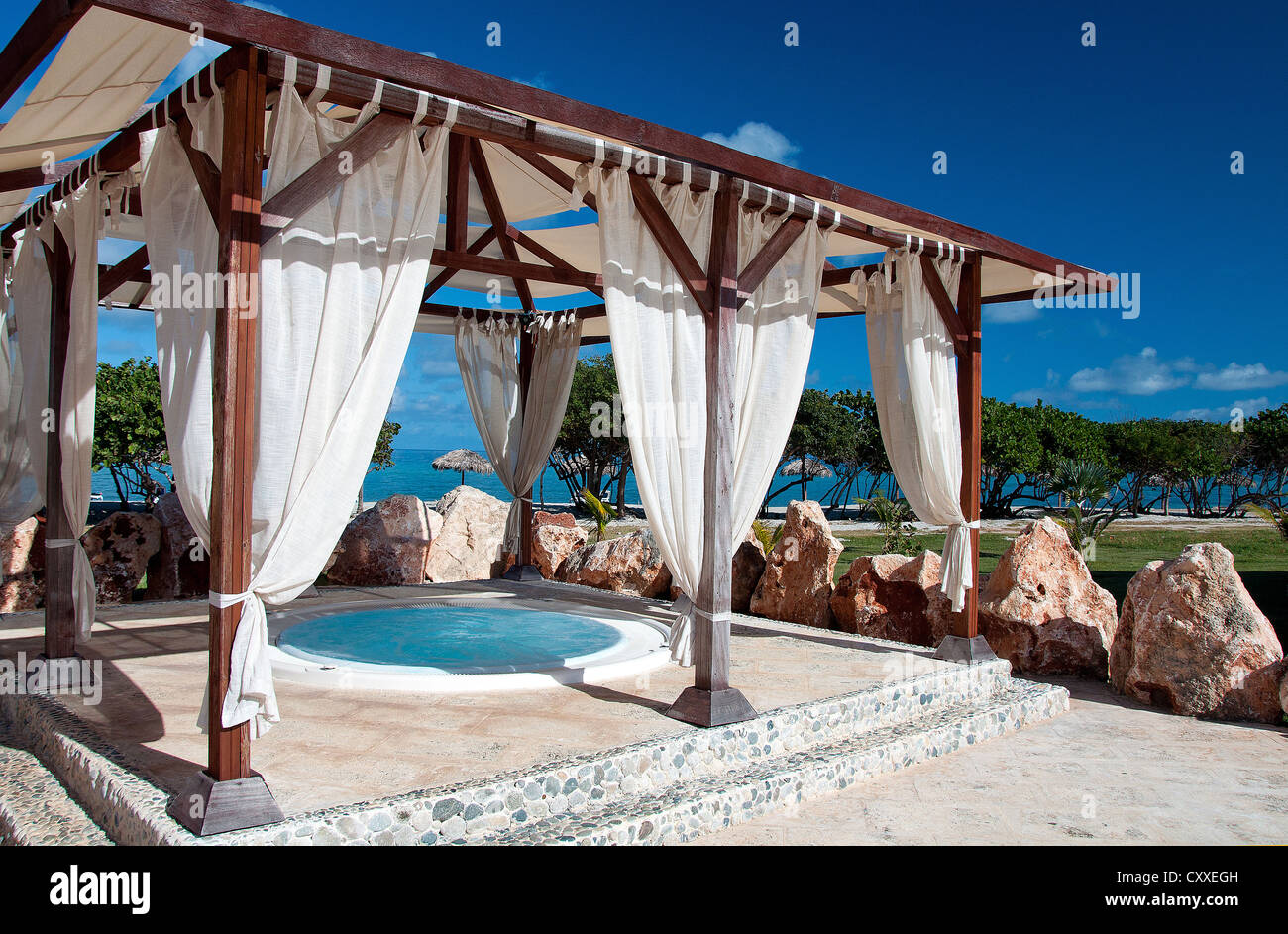Luxury SPA resort with jacuzzi in the open air Stock Photo, Royalty ...
