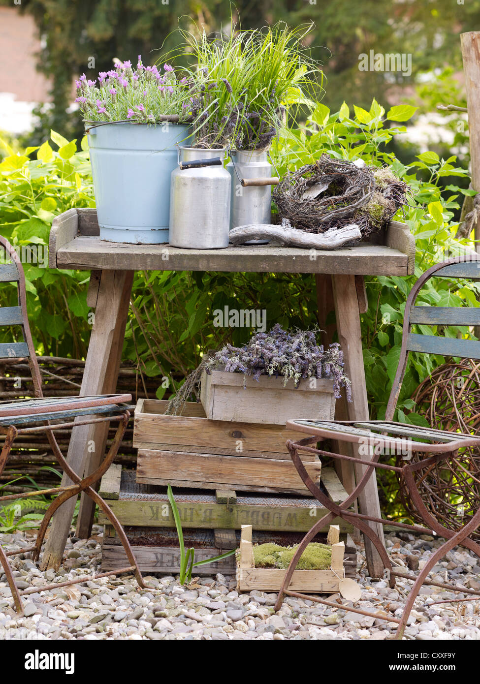 Still Life, Decorative Garden Accessories, Metal Jugs On An Old Wooden  Table In A Romantic Garden