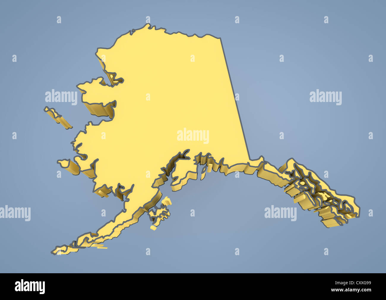 Map Of Alaska AK USA United States Of America Contour D - 3d map usa states