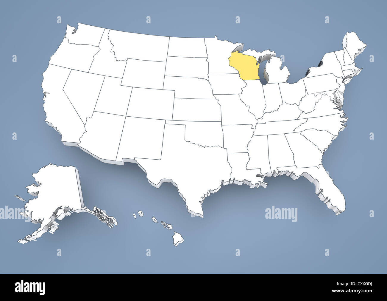 Wisconsin WI Highlighted On A Contour Map Of USA United States - Map of america wisconsin