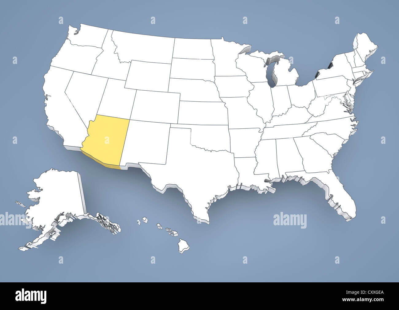 Arizona AZ Highlighted On A Contour Map Of USA United States Of - Arizona on the us map
