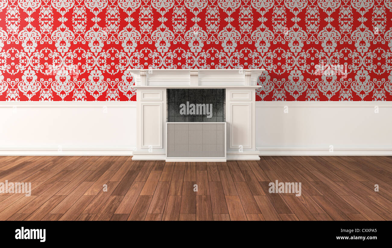 Empty Living Room With Fireplace Baroque Style Wallpaper And Oak Flooring 3D Illustration