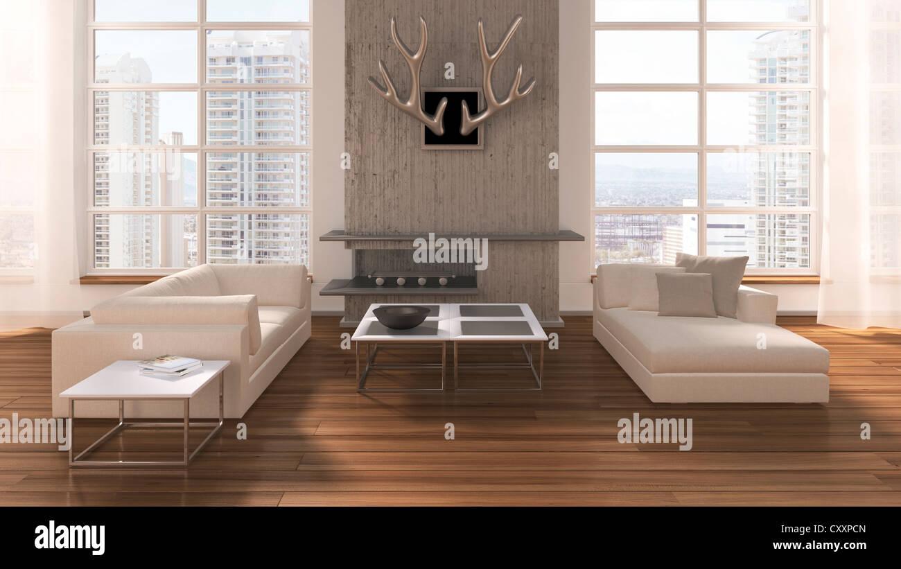 loftlike living room with sofas coffee table fireplace deer  - loftlike living room with sofas coffee table fireplace deer antlers andoak flooring urban views d illustration