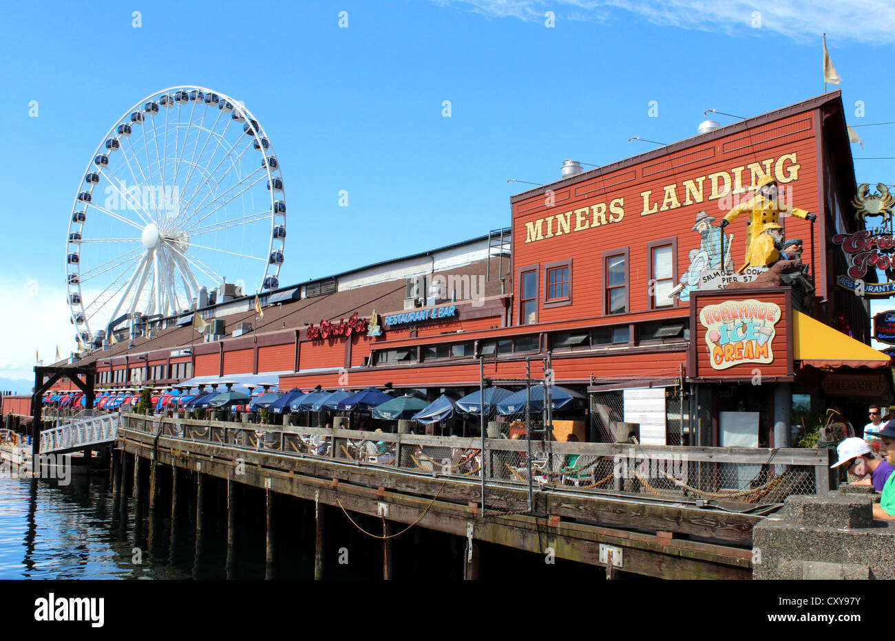 miners landing restaurant and great wheel on the waterfront in stock