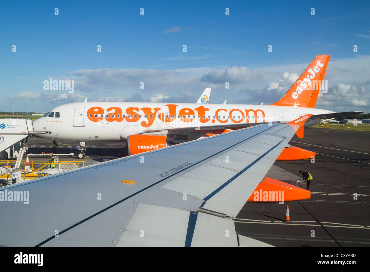 esy jet airplanes on runway at newcastle airport england uk