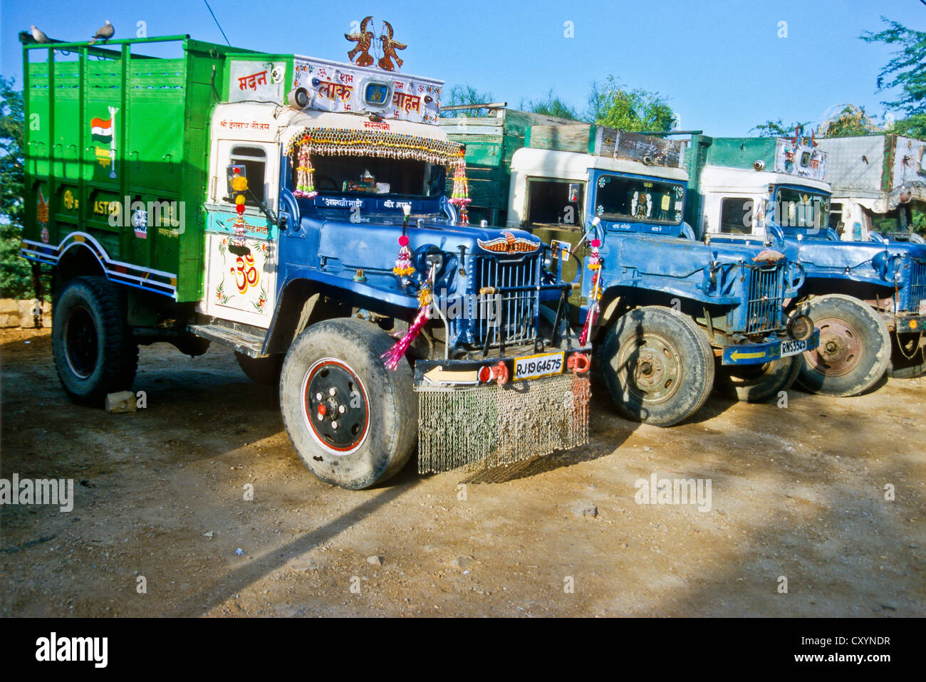 Old trucks used for transportation in rural areas, Bhuj, India ...