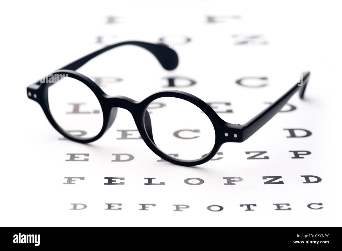 Old fashioned round black eyeglasses lying over the eye checking old fashioned round black eyeglasses lying over the eye checking chart geenschuldenfo Gallery