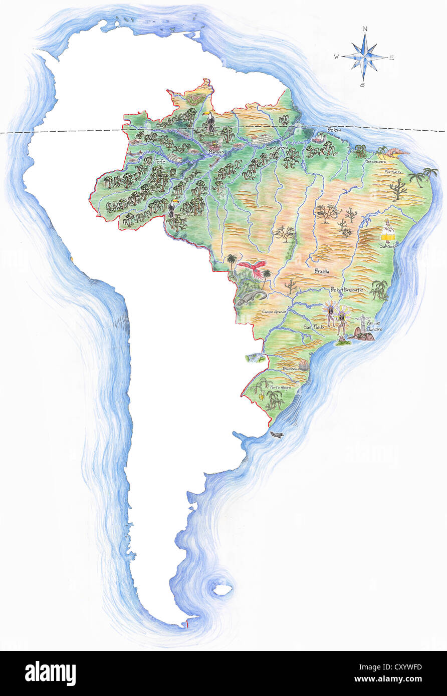 Highly detailed hand drawn map of brazil within the outline of highly detailed hand drawn map of brazil within the outline of south america with a compass rose and the equator gumiabroncs Image collections