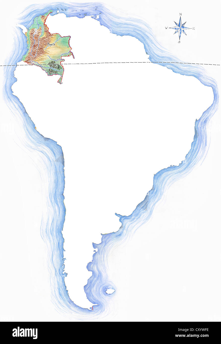 Highly detailed hand drawn map of colombia within the outline of highly detailed hand drawn map of colombia within the outline of south america with a compass rose and the equator gumiabroncs Image collections
