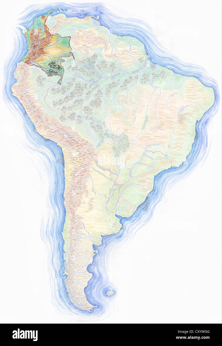 Highly detailed handdrawn map of South America with Colombia