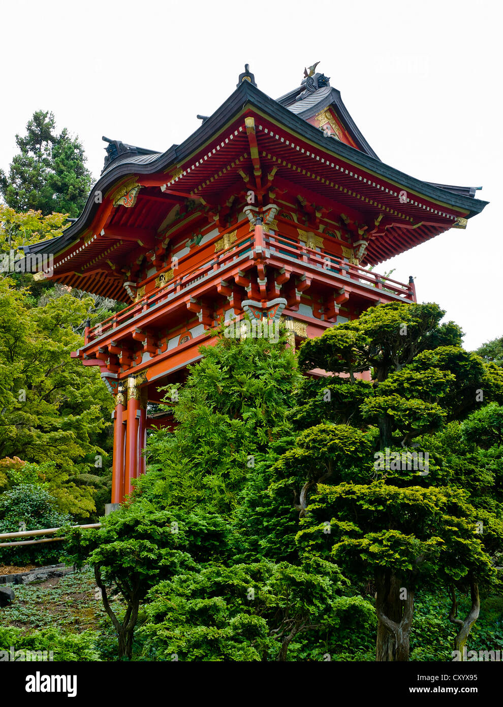 Japanese Tee Garden In Golden Gate Park San Francisco California, Multiple  Level Red Roof Pagoda