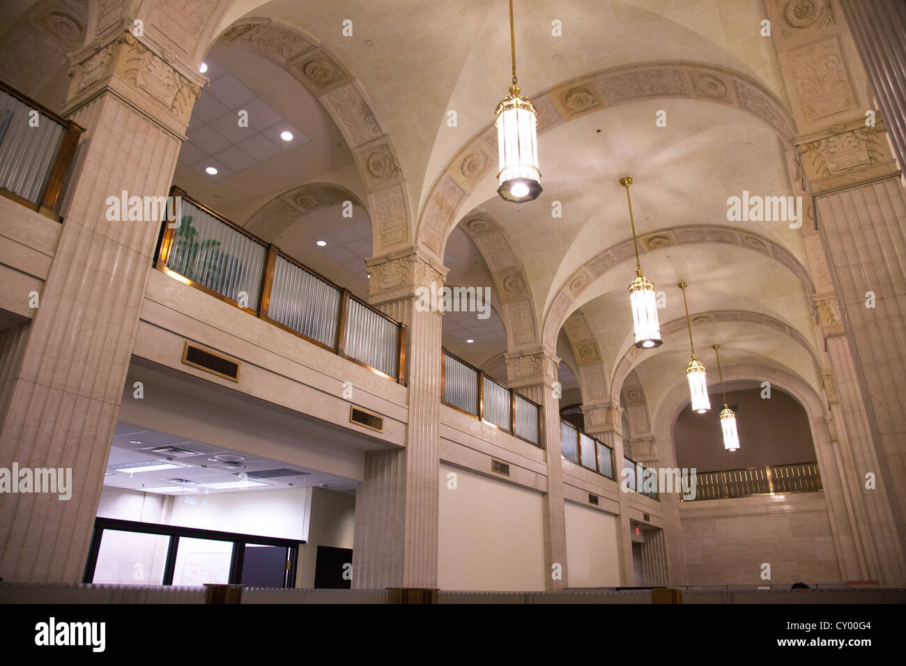 Ceiling of vintage art deco bank interior stock image