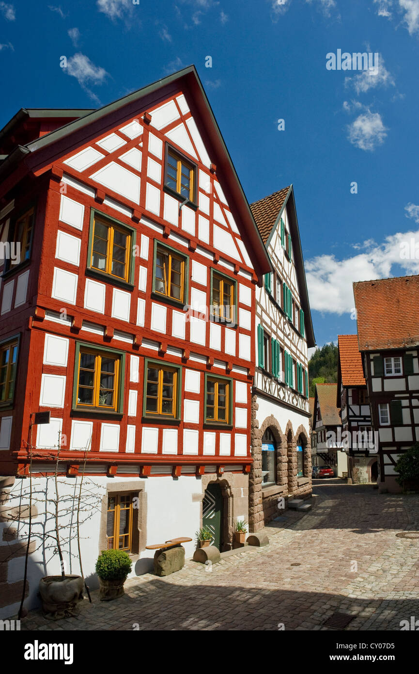 half timbered houses in schiltach kinzigtal valley black forest stock photo royalty free. Black Bedroom Furniture Sets. Home Design Ideas