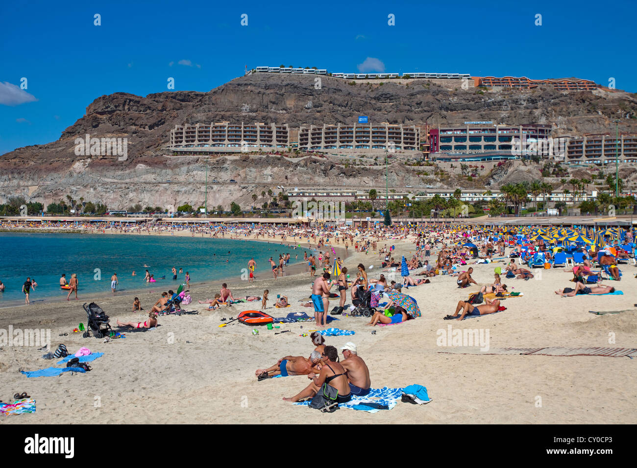 People At Amadores Beach Near Puerto Rico Gran Canaria Canary Islands Spain Europe