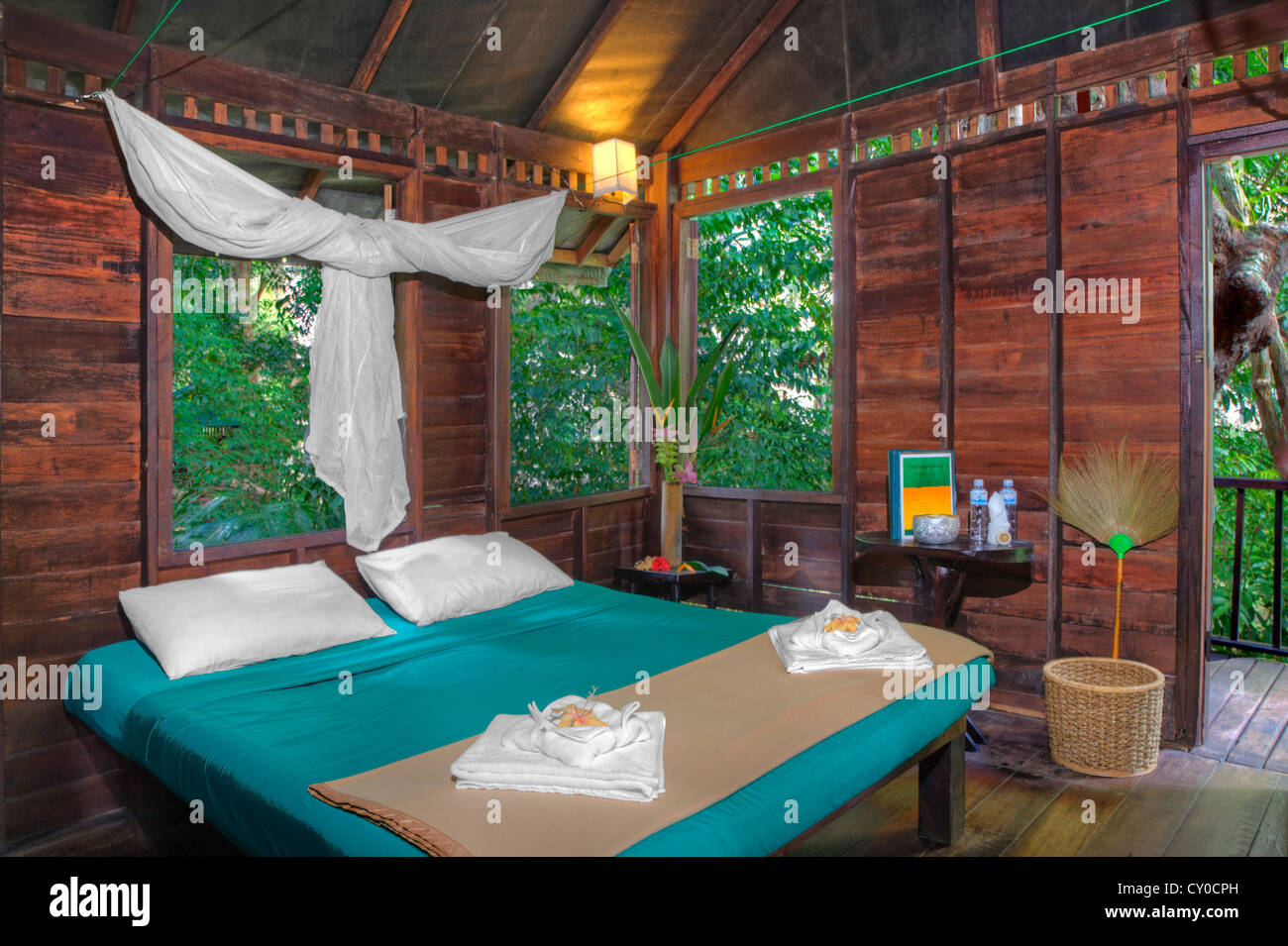 a tree house interior at our jungle house a lodge in the rainforest near khao sok