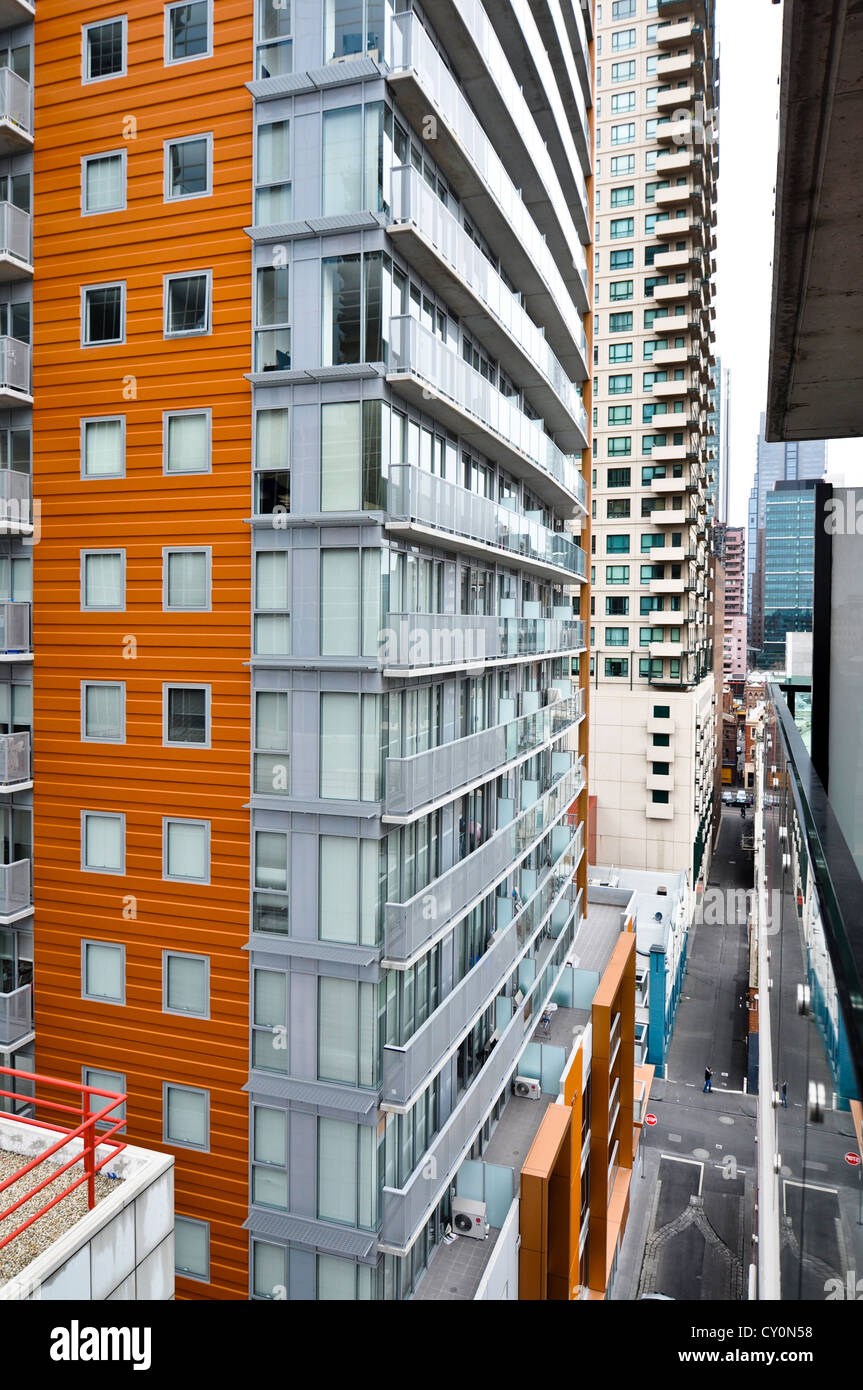 Urban canyon of modern high rise apartments in Melbourne ...