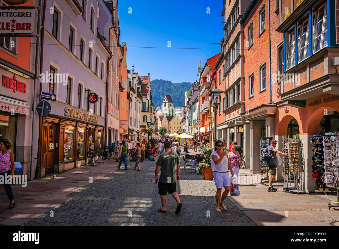 main shopping street in fussen south germany stock photo. Black Bedroom Furniture Sets. Home Design Ideas