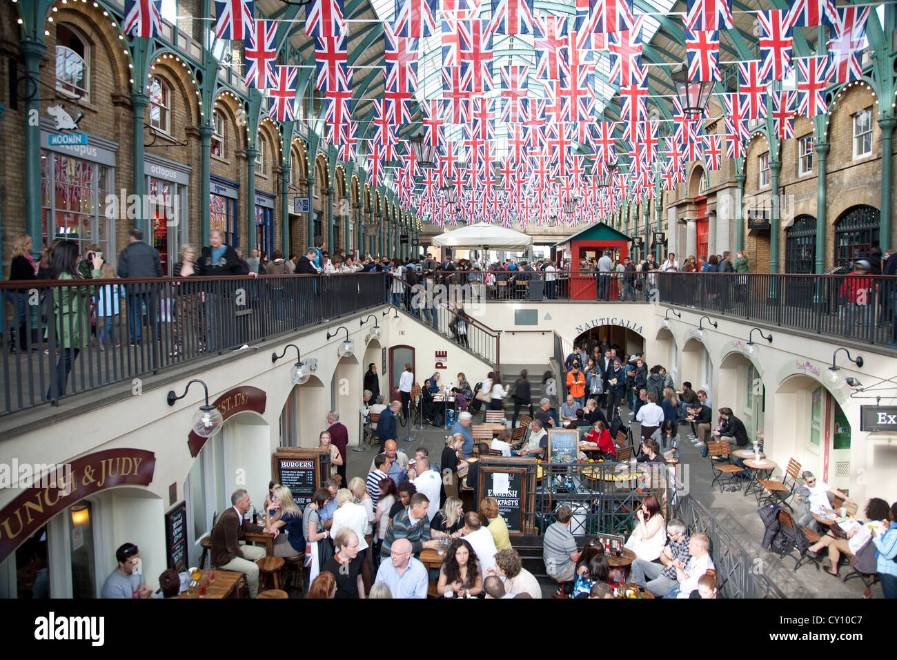 Covent garden flower market interior small 2 - Union Jack Flag Buntings Decorate Covent Garden Market Interior Stock