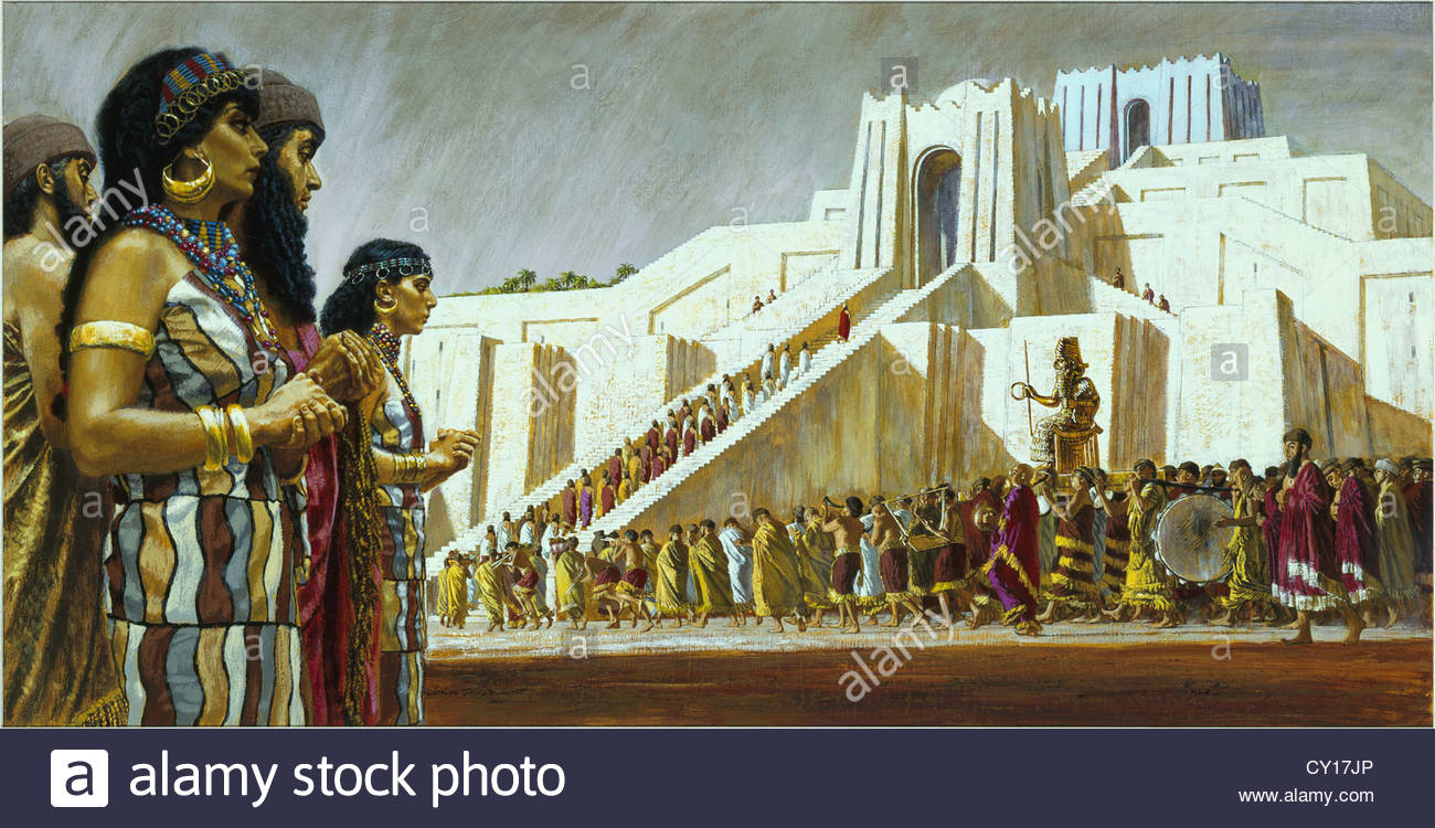 Painting of Sumerian people bringing a gilded statue to ...