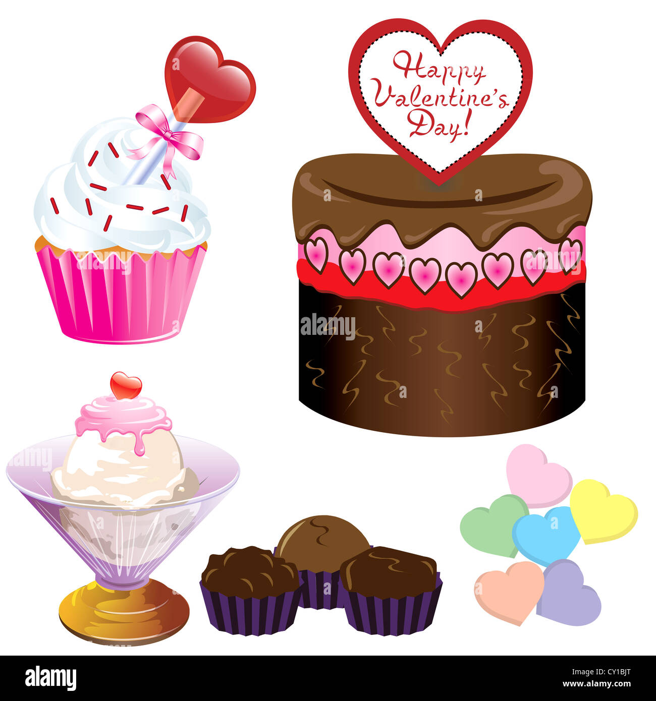 illustration of five different valentine sweets