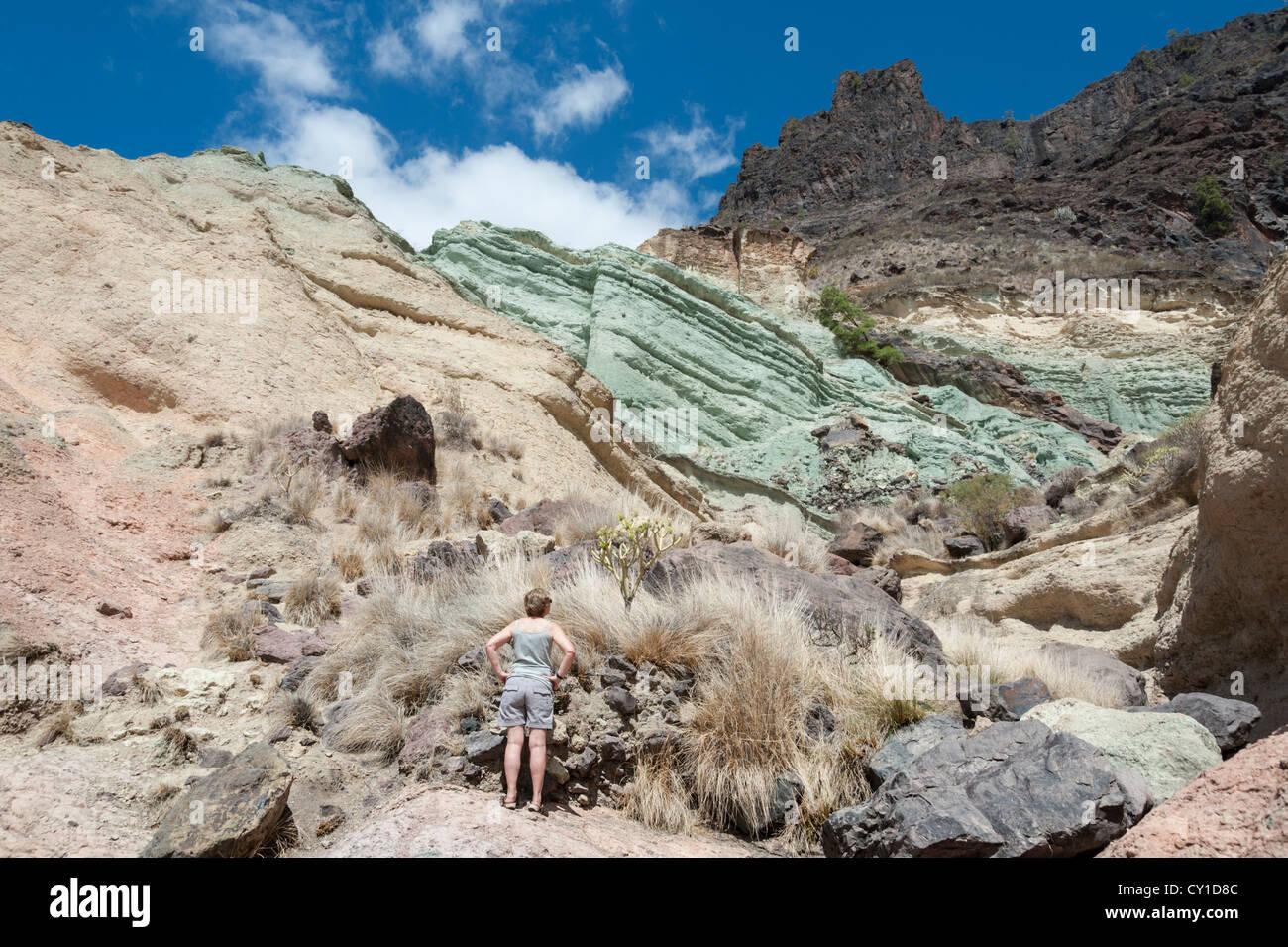 Coloured volcanic rocks at fuente los azulejos gran - Los azulejos gran canaria ...