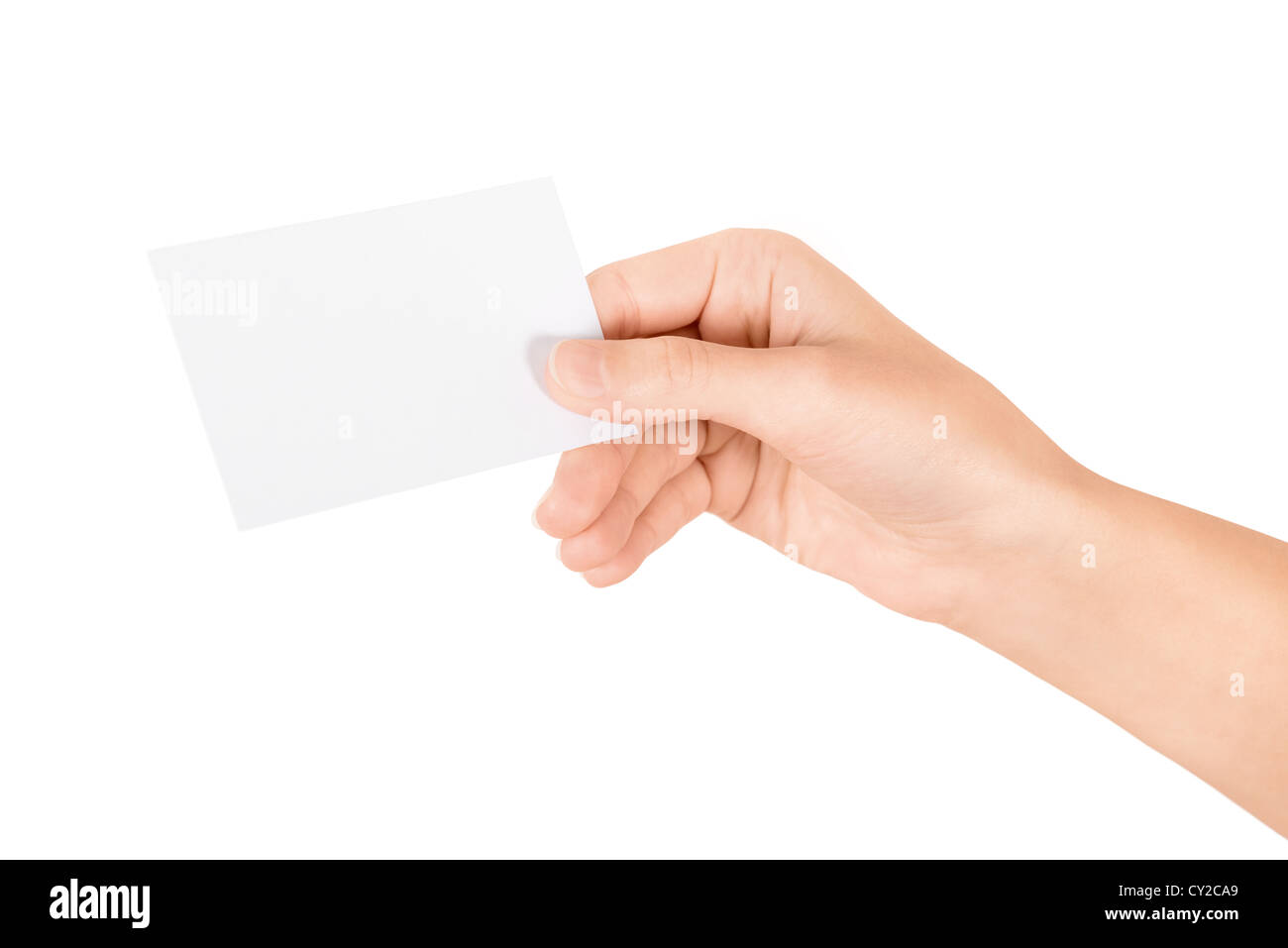 Hand holding blank business card. Isolated on white Stock Photo ...