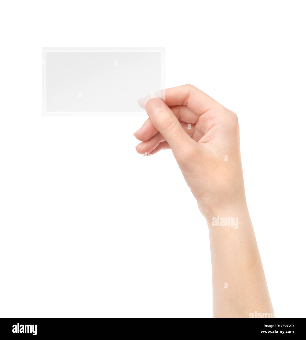 Female hand holding blank transparent business card in hand ...