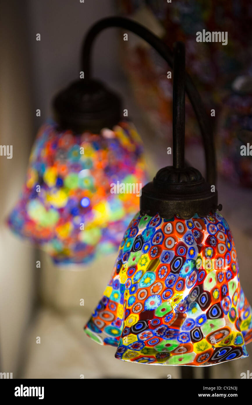 stock photo twin table lamp with murano glass shades made in the millefiori style