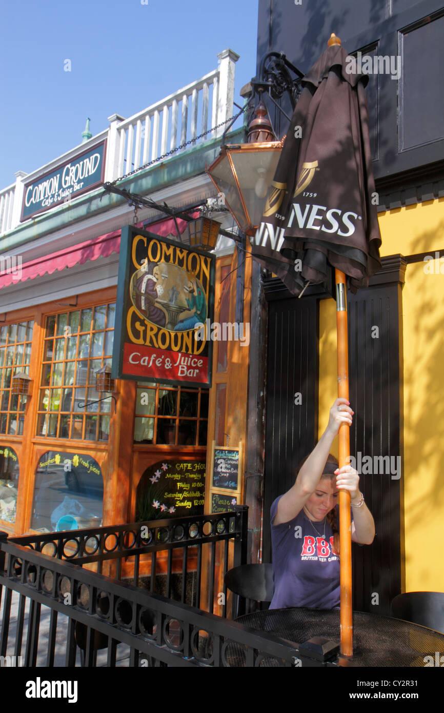 Good Massachusetts Cape Cod Hyannis Main Street Business Sign Common Ground Cafe  U0026 Juice Bar Restaurant Woman Umbrella Setting Up Alf
