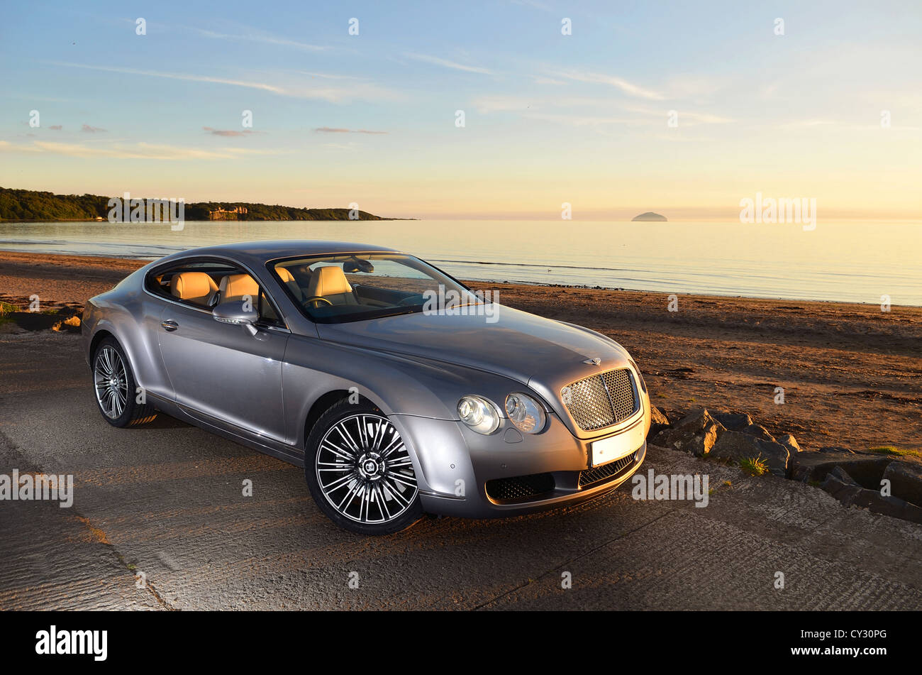 Bentley Continental GT Silver Super Car, Sunset Next To