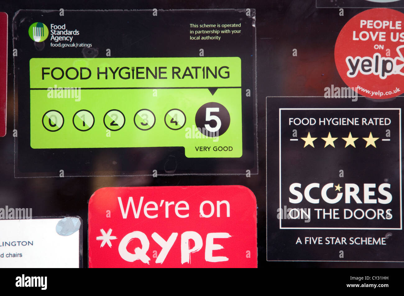 Food Standards Agency \ Scores on the Doors\  hygiene rating on restaurant door London & Food Standards Agency \