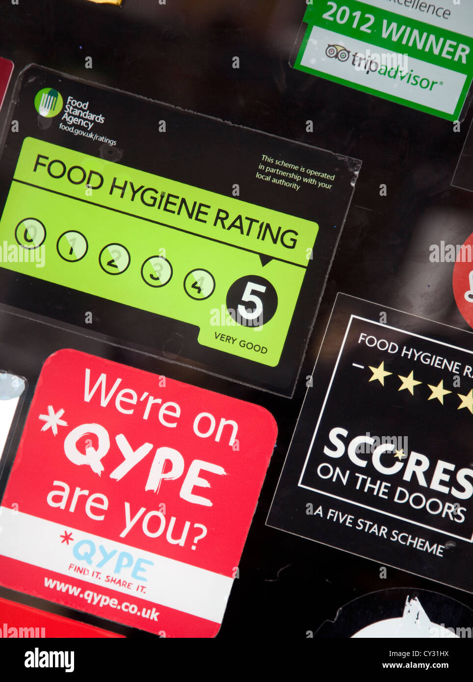 Food Standards Agency  Scores on the Doors  hygiene rating on restaurant door London & Food Standards Agency