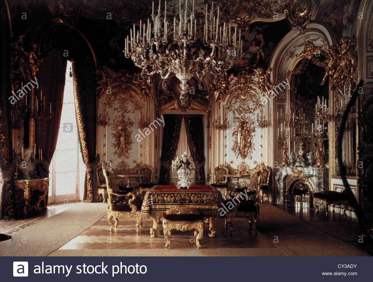 the interior of a dining room in schloss herrenchiemsee dining room duns castle