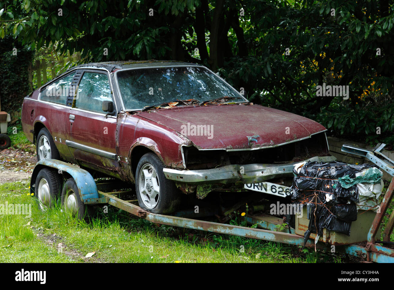 An old car on a trailer in the U.K Stock Photo, Royalty Free Image ...