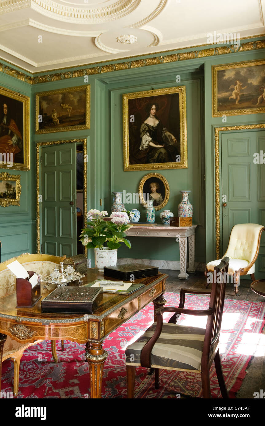 Green Drawing Room: Antique Writing Table In Green Panelled Drawing Room With
