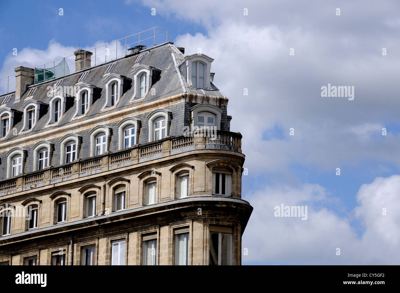Typical French Apartment Building Architecture In Bordeaux, France   Stock  Image
