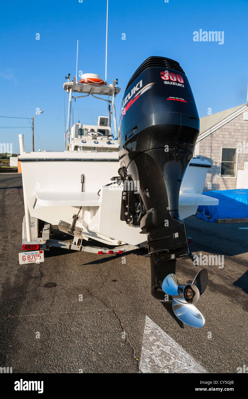 Outboard engine suzuki 300 hp on back of a cape cod charter boat stock