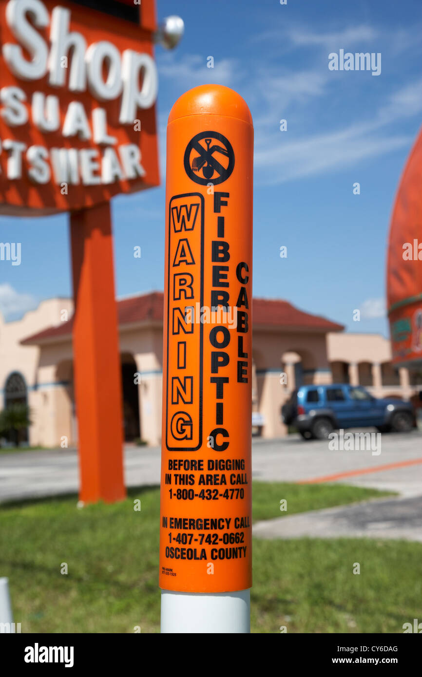 Warning Buried Fiber Optic Cable Marker In Kissimmee