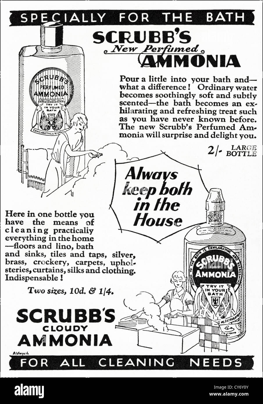 original 1930s vintage print advertisement from english consumer original 1930s vintage print advertisement from english consumer magazine advertising scrubb s ammonia cleaning stock photo