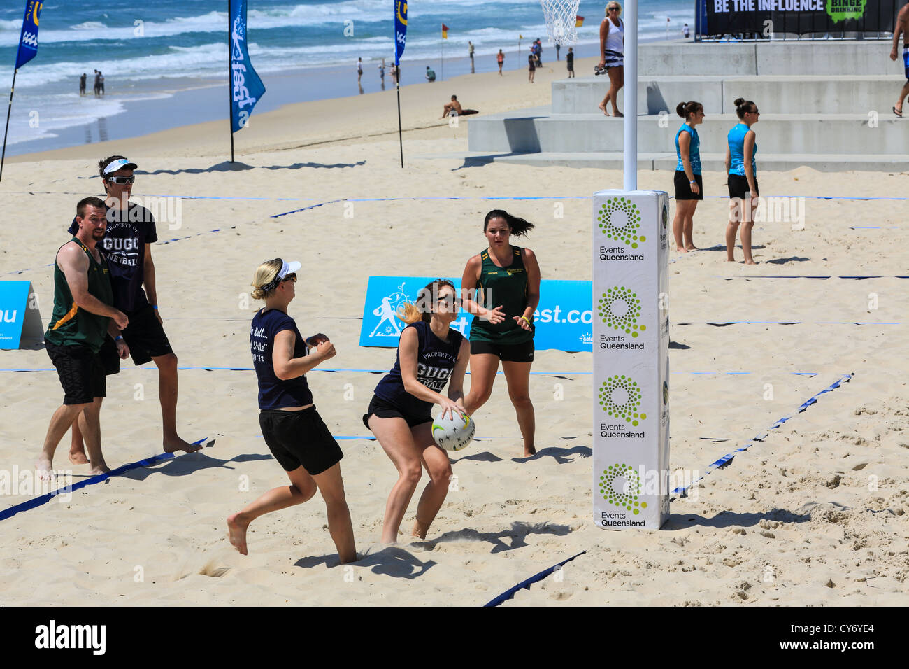 The Game Is On At The Beach Netball At Surfers Paradise Beach For The First Time For This Off Shoot Sport From The Traditional