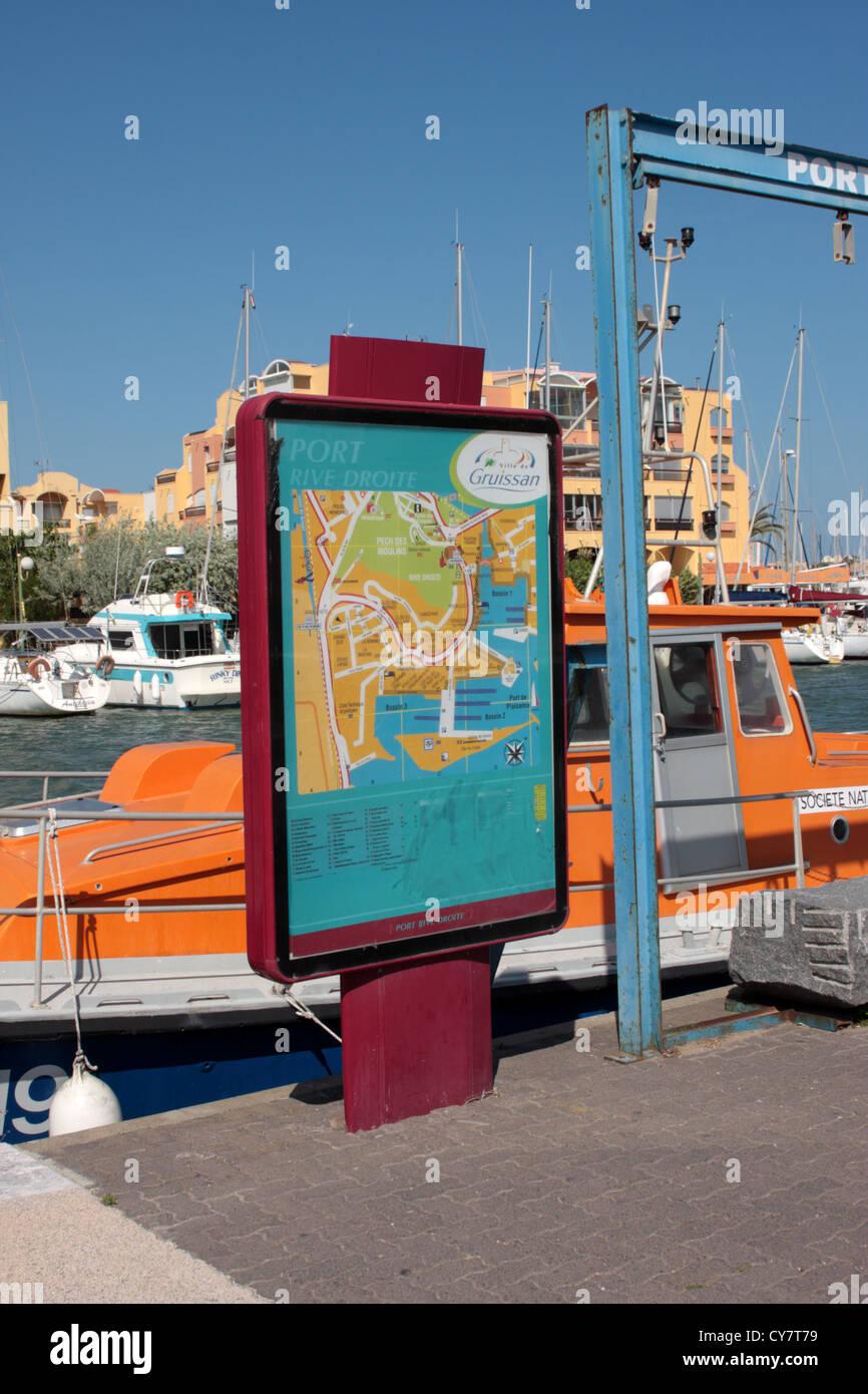 Tourist Information Map Gruissan marina LanguedocRoussillon France