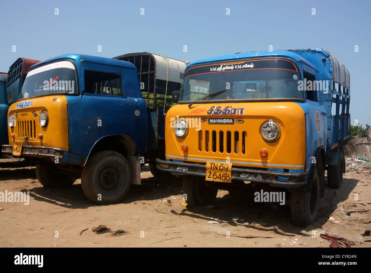 vintage indian mahindra trucks in tamil nadu india stock photo