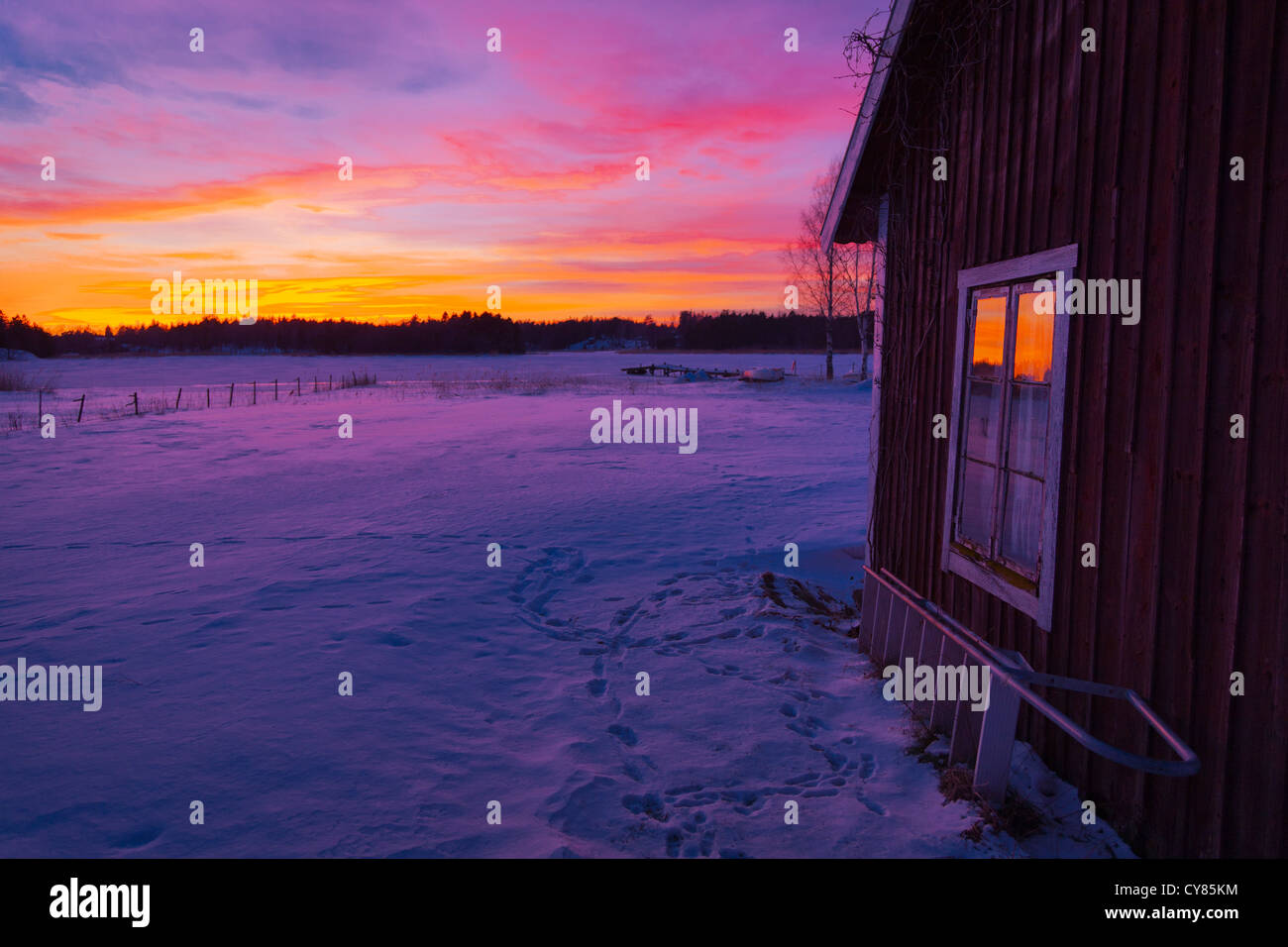 old fashioned house at sunset in roslagen sweden stock photo