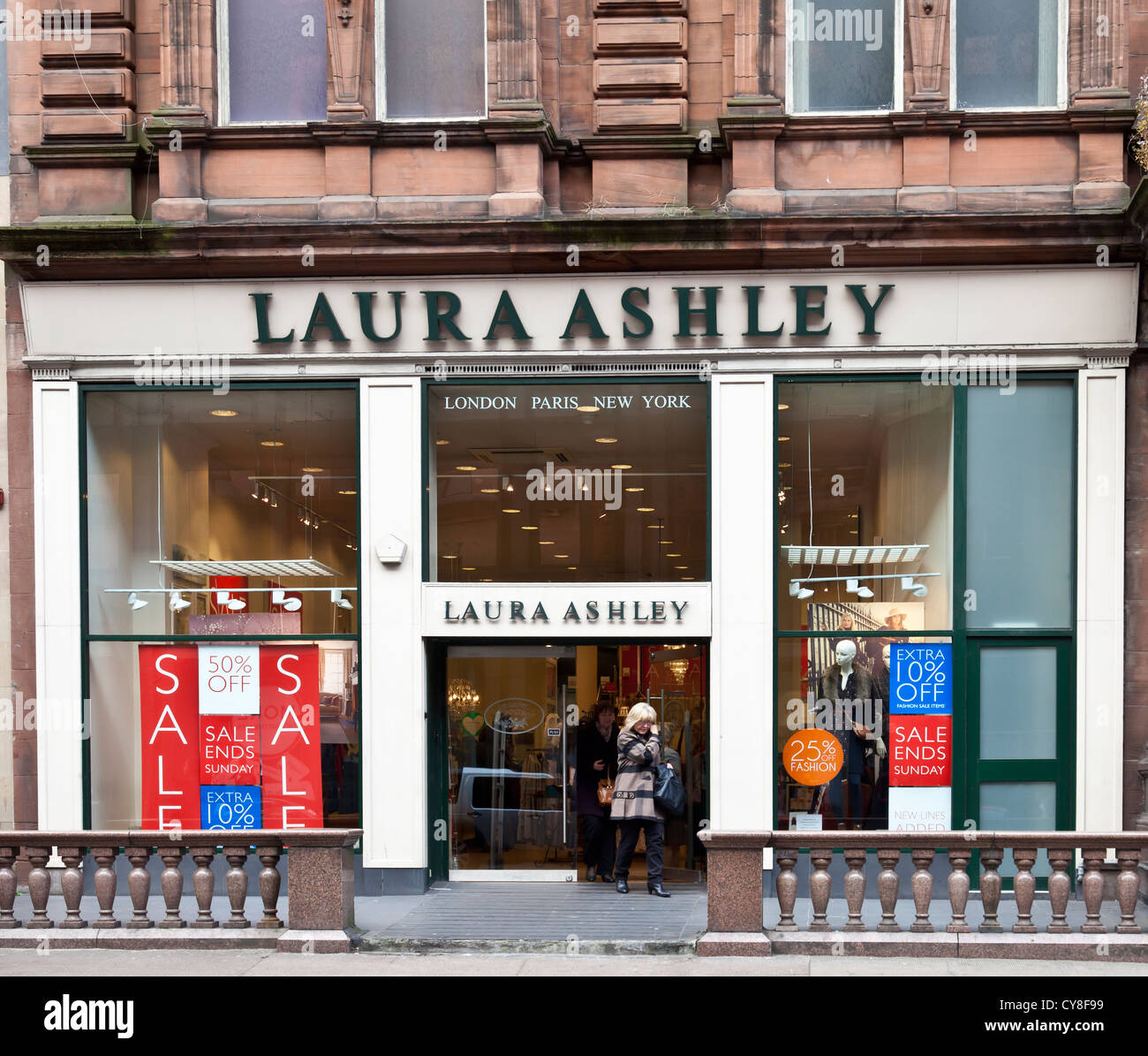 Frontage Of The Laura Ashley Fashion And Home Accessories Shop In Central Glasgow With Sale Signs In The Window