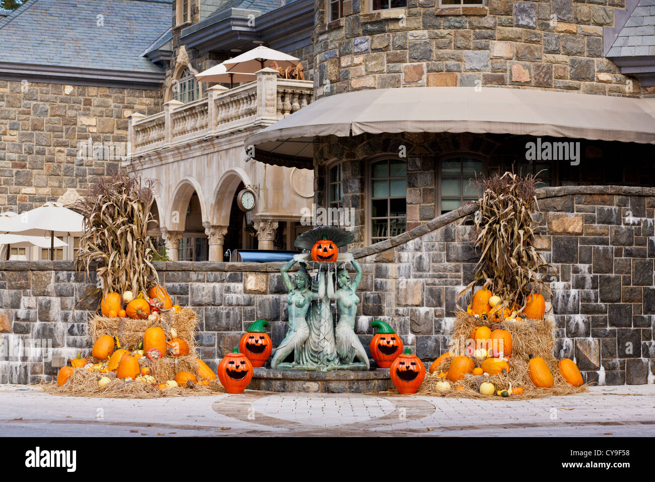 Halloween decorated mansion - A Mansion Decorated With Pumpkins For Halloween Saratoga Springs New York